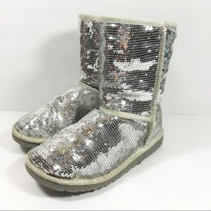 UGG silver sequin slip on fur lined boots size 9